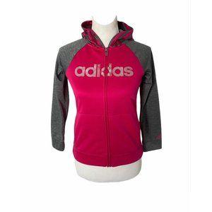 Girls medium adidas pink and grey track jacket